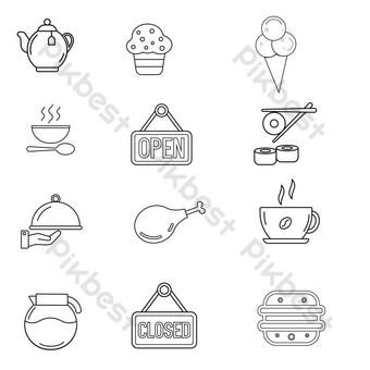 PNG Vector et transparent Noir Icônes de conception de la ligne de conception Éléments graphiques Modèle EPS