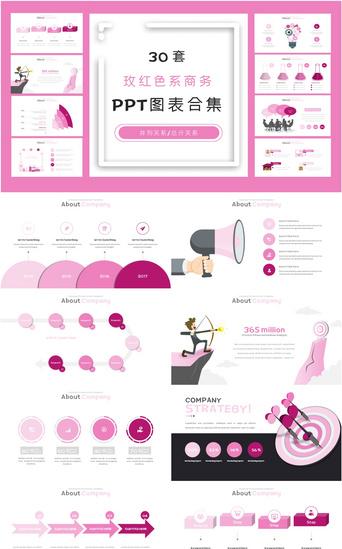 30 conjuntos de colección de gráficos ppt de negocios rosa roja PowerPoint Modelo PPTX