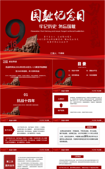 Keep in mind the mission of the 88th anniversary of the September 18th Incident PPT template PowerPoint Template PPTX