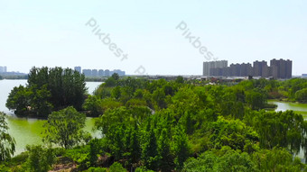 1080p تصوير جوي مدينة الأشجار الخضراء بحيرة المياه فيديو قالب AEP
