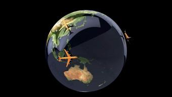 ثلاثي الأبعاد الأرض الدورية الطائرات شبكة النقل شفافة قناة الفيديو فيديو قالب AEP