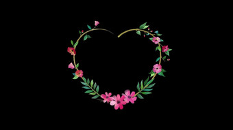 الزهور الطازجة تنمو على شكل قلب إكليل الزفاف الحب قناة شفافة فيديو قالب AEP