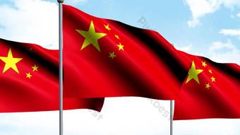 五顆星紅旗在風中飄揚AE動態模板 視頻 模板 AEP