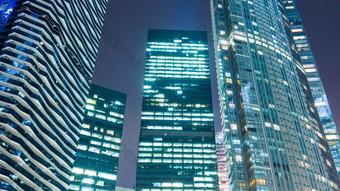 منظر ليلي 1080p لقطة علوية لأضواء ناطحة سحاب فيديو عالي الدقة فيديو قالب AEP