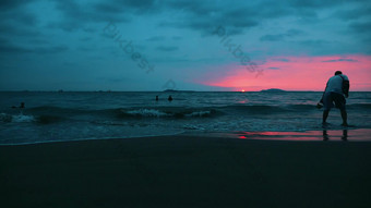 1080P time-lapse seaside sunset tourists frolicking Video Template AEP
