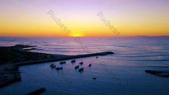 1080p beautiful sea level sunset coast pier aerial photography Video Template AEP
