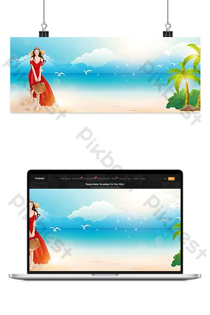 Small fresh graduation travel hand drawn sea background Backgrounds Template PSD