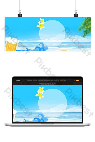 Blue summer seaside cool background Backgrounds Template PSD