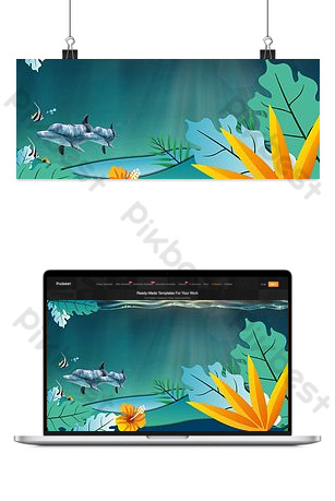 Deep sea world background poster Backgrounds Template PSD
