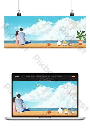 Tourist couple watching the sea background poster Backgrounds Template PSD