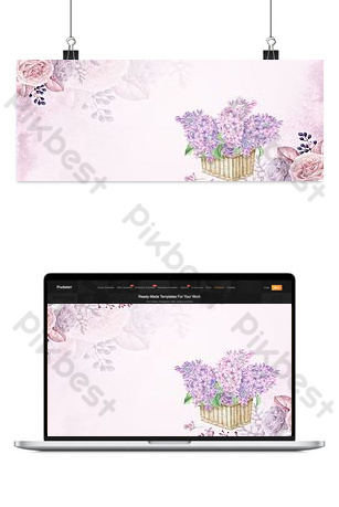Purple floral literary september hello banner background Backgrounds Template PSD