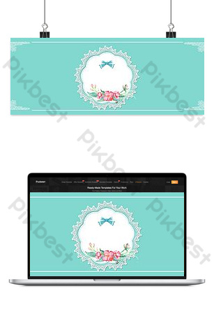 Senior blue Tiffany blue small fresh flowers lace shading background Backgrounds Template PSD