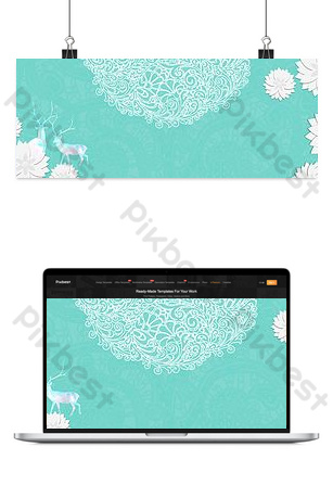 Tiffany senior blue literary romantic paper-cut lace shading background Backgrounds Template PSD
