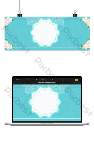 Tiffany blue premium blue flowers lace background Backgrounds Template PSD
