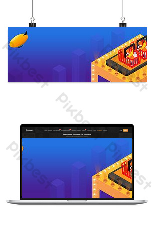 двойной одиннадцать изометрическая корзина для покупок мобильный телефон баннер плакат Фон шаблон PSD