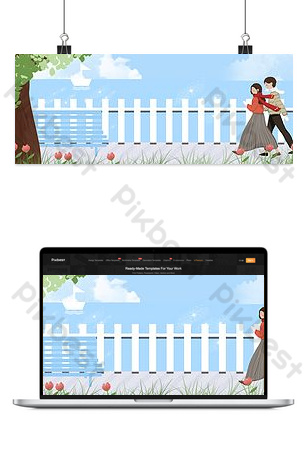 Autumn and winter couple seaside walking clothing promotion background Backgrounds Template PSD