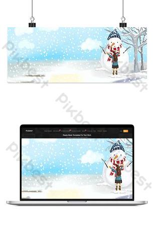 veinticuatro términos solares niña al aire libre muñeco de nieve ilustración fondo Fondos Modelo PSD