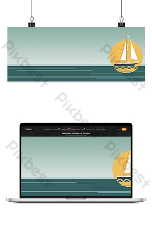 Flat vector sailing sea sailing background image Backgrounds Template PSD