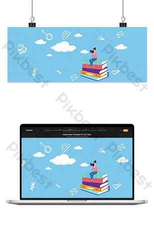 cartel de dibujos animados planos de temporada escolar Fondos Modelo PSD