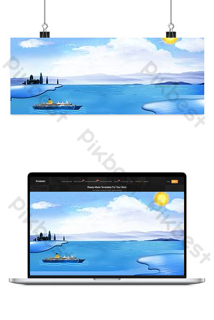Seaside ferry landscape scenery Backgrounds Template PSD
