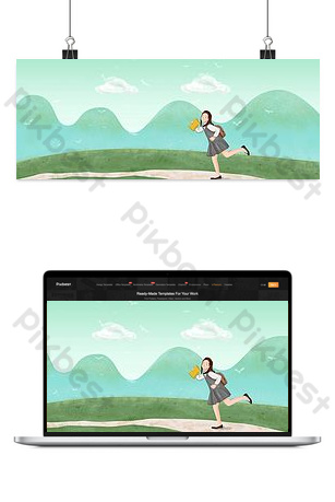 banner de cartel de dibujos animados plana de temporada escolar Fondos Modelo PSD