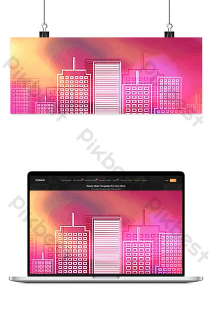 صورة ظلية المدينة المباني الشاهقة خلفيات قالب PSD