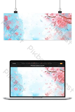 櫻花節浪漫文藝藍色水彩背景 背景 模板 PSD