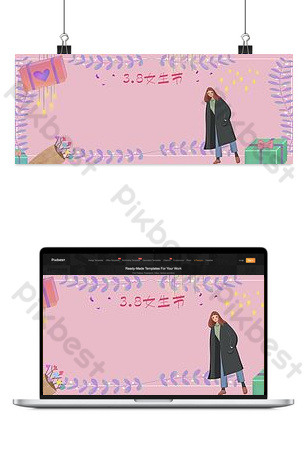 3 8 يوم المرأة يوم الملكة يوم إلهة مرسومة باليد التوضيح راية صورة الخلفية خلفيات قالب PSD