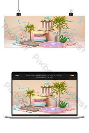 C4D three-dimensional simple school season outdoor e-commerce promotion poster Backgrounds Template PSD