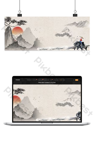 Phong cách cổ xưa văn học và nghệ thuật biểu ngữ lễ hội qingming Nền Bản mẫu PSD