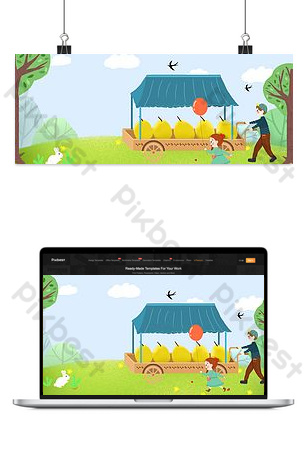 Shocking solar terms cart selling pear cartoon cute banner Backgrounds Template PSD