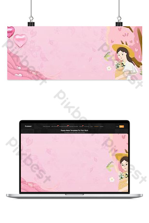 38 queens day fresh pink e commerce poster background Backgrounds Template PSD