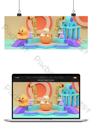 C4D stereoscopic new fresh school season happy e-commerce promotion poster Backgrounds Template PSD