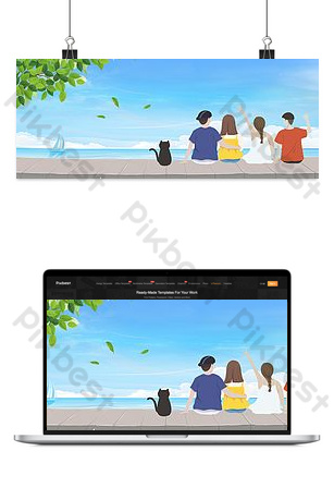 Blue sea travel background Backgrounds Template PSD