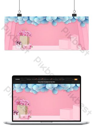 Fondo rosado simple del cartel del comercio electrónico del día de la madre 512 Fondos Modelo PSD