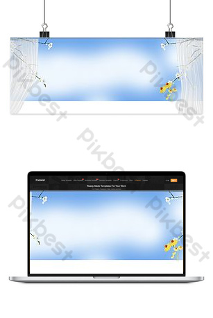 Spring day window sill flower branch window screen background poster Backgrounds Template PSD