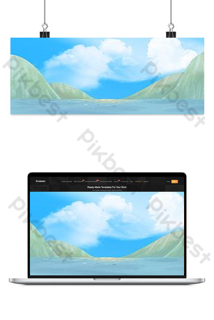 Simple blue sky and sea background Backgrounds Template PSD