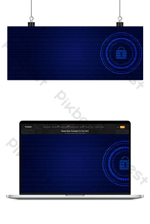 Blue business technology information security banner background Backgrounds Template PSD