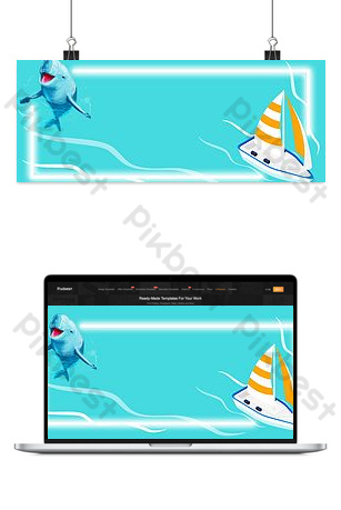 Encounter dolphins on a sailing boat on the sea Backgrounds Template PSD