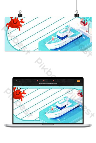 Three-dimensional small square sea cruise ship Backgrounds Template PSD