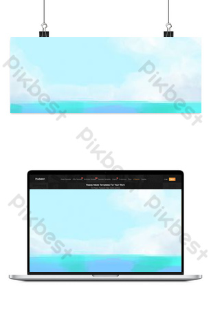 blue sky and white clouds river background map Backgrounds Template PSD