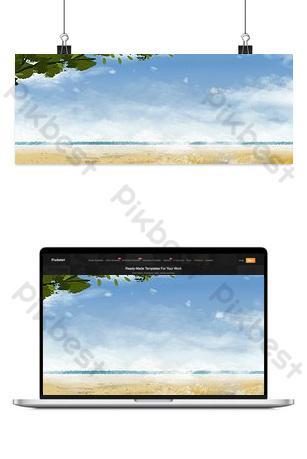 Summer seaside landscape illustration Backgrounds Template PSD