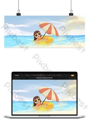 Summer seaside sunscreen small fresh poster Backgrounds Template PSD