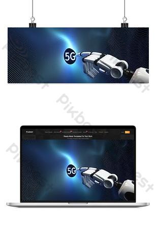 5g cánh tay robot chạm Nền Bản mẫu PSD