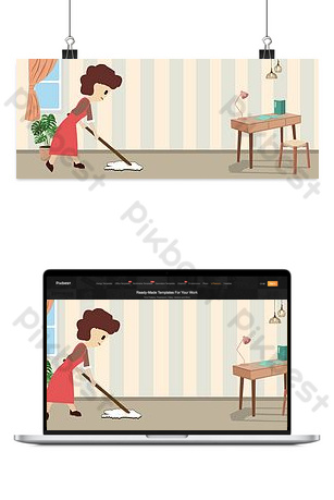 Background picture of housekeeping part-time service Backgrounds Template PSD
