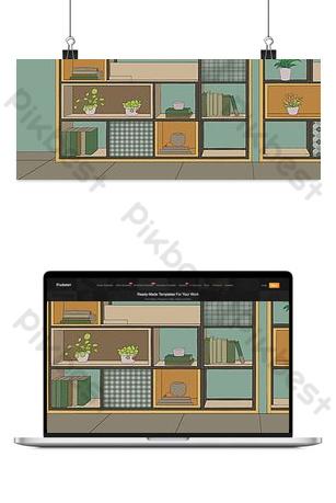 icono de estantería pequeña de dibujos animados gratis Fondos Modelo PSD