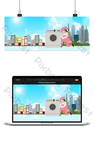 Housekeeping appliance cleaning service Backgrounds Template PSD