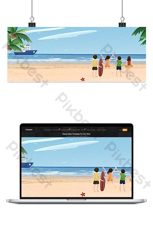 Summer holiday seaside travel background template Backgrounds Template PSD