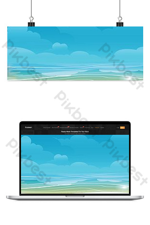 Simple blue sea background picture Backgrounds Template PSD