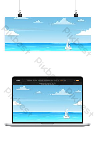 Simple blue sea background image Backgrounds Template PSD